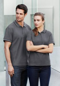 Grey polo worn