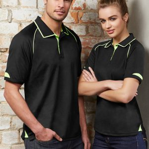 black and fluro yellow polo