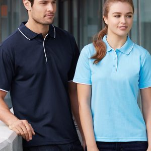 Navy polo and Aqua polo