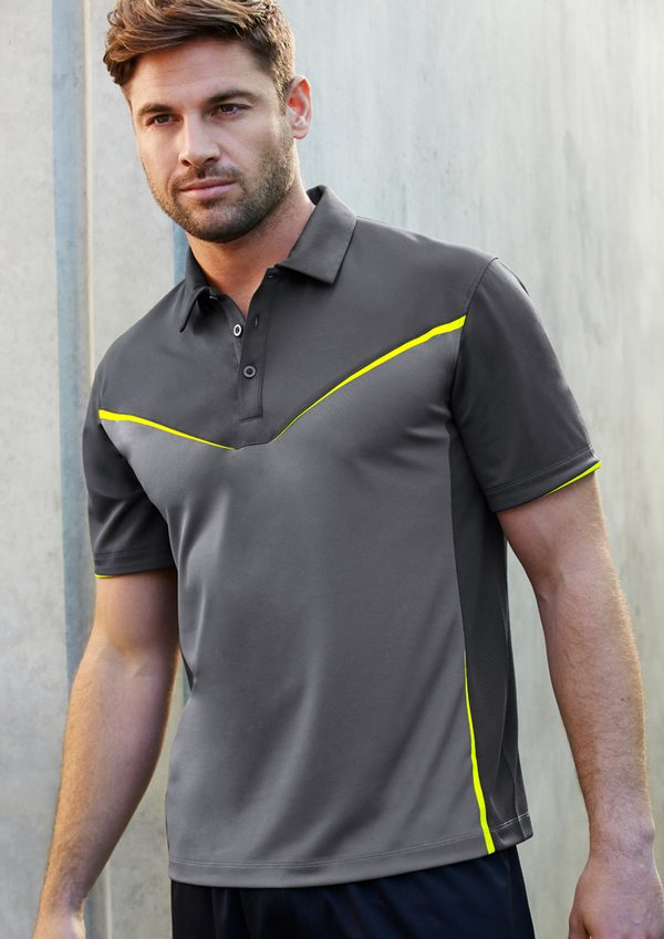 Grey and fluro yellow polo