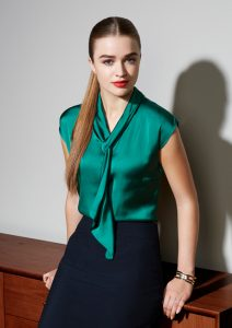 Green top with neck tie