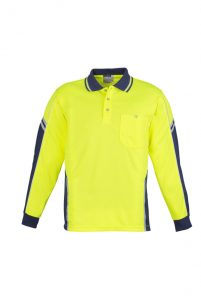 Yellow and Navy Long sleeve polo