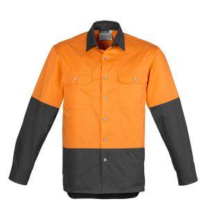 Orange and charcoal long sleeve shirt