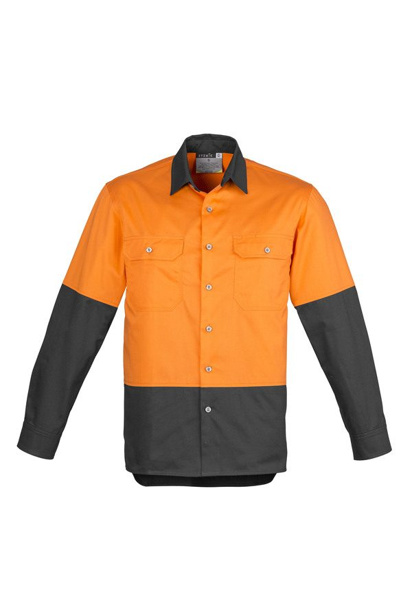 Orange and charcoal long sleeve shirt