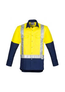 yellow and navy long sleeve shirt