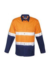 Orange and navy long sleeve shirt