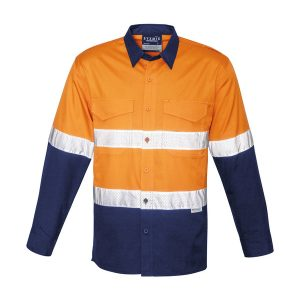 Orange and navy long sleeve shirt