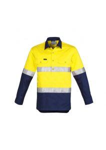 Yellow and navy closed front long sleev shirt