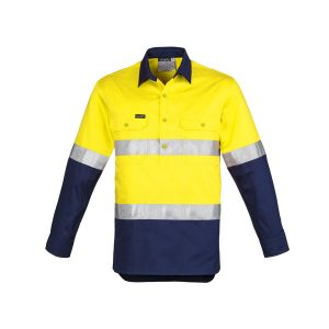 Yellow and navy closed front long sleev shirt