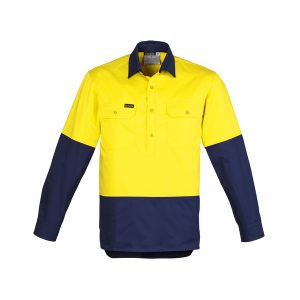 Yellow and Navy long sleeve drill shirt