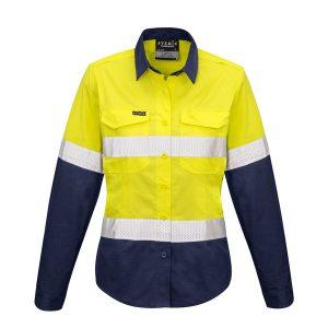 yellow and navy long sleeve shirt