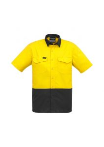 yellow and charcoal short sleeve shirt