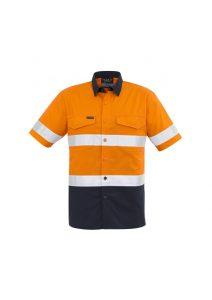 Orange and navy short sleeve shirt