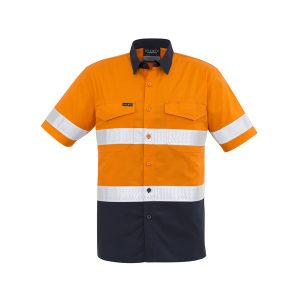 Orange and navy short sleeve shirt