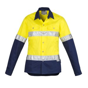 Yellow and navy long sleeve drill shirt ladies