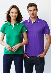 Green/White polo and Violet/White polo
