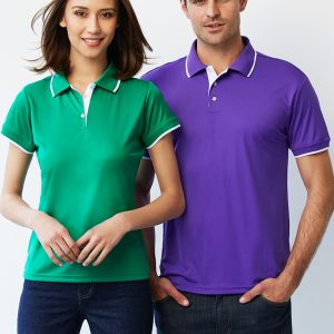 Green/White polo and Violet/White polo