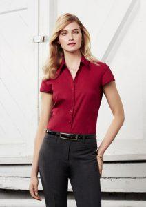 Red short sleeve shirt worn