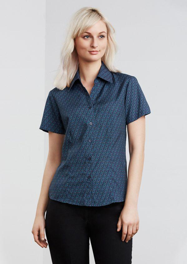 Navy print shirt worn