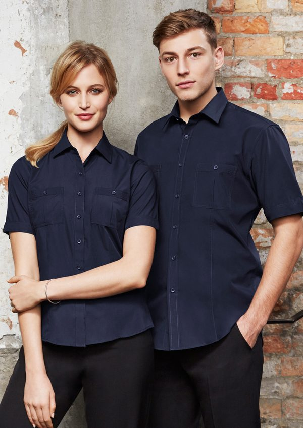 Navy short sleeve shirt worn