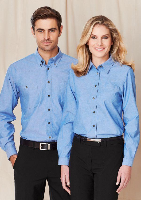 Blue long sleeve shirt worn