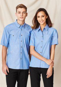 Blue short sleeve shirt worn
