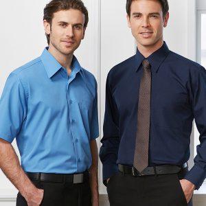 Blue shirt and navy shirt worn