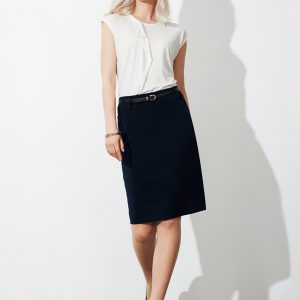 Navy skirt worn