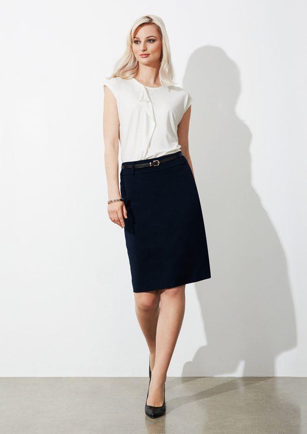 Navy skirt worn