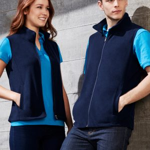 Navy vest worn