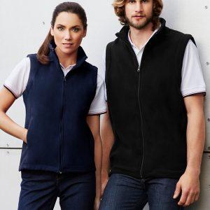 Navy vest worn and Black vest worn