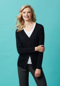 Black cardigan worn
