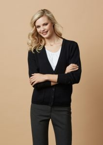 Black cardigan worn