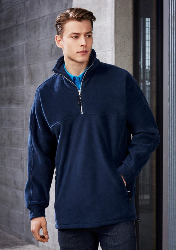 Navy jacket worn