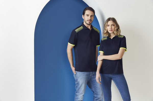 Navy and Fluro Yellow Polo